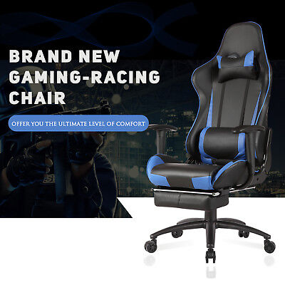 Rocker Blue Office Gaming Chair Racing Seats Computer Chair Executive Wfootrest