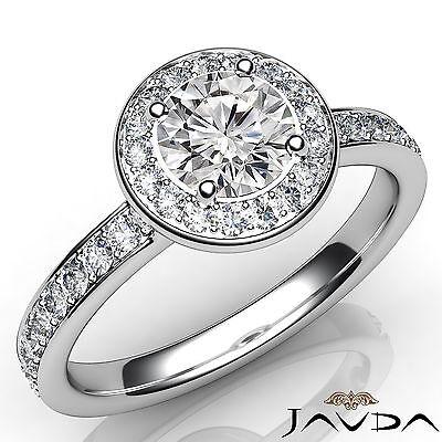 Cathedral Halo Pave Set Round Diamond Engagement Wedding Ring GIA F VVS2 1.16Ct