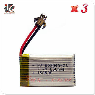 3x 7.4V 25C 650mAh Lipo Battery For JJRC H8C DFD F182 F183 Drone Quadcopter Part