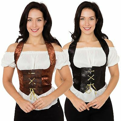 Corset Velvet Ladies Pirate Fancy Dress Black Brown Medieval Womens Gothic New