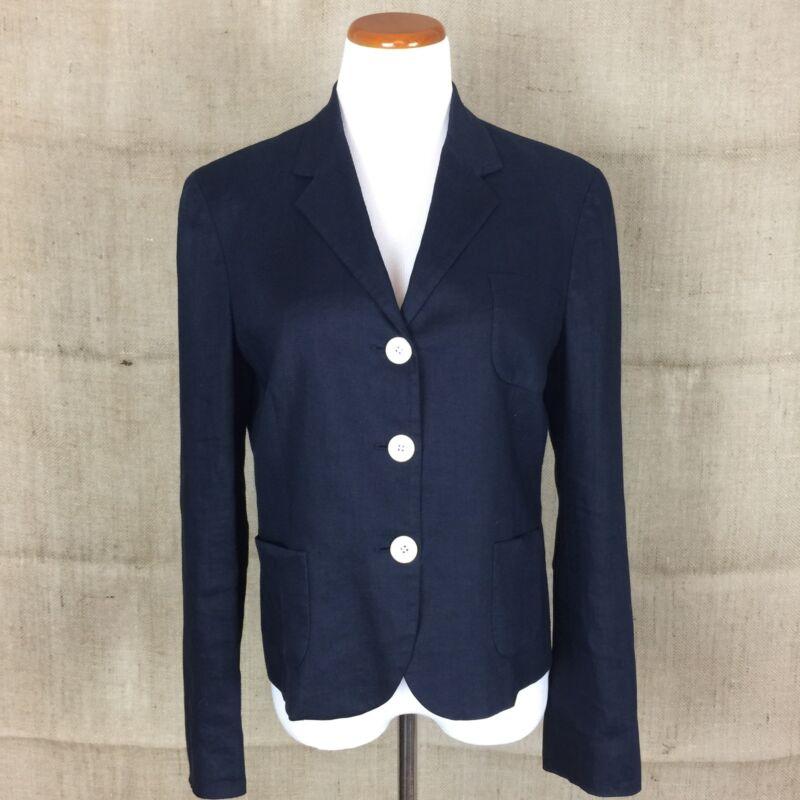 LAUREN Ralph Lauren Navy Linen Jacket Size 12