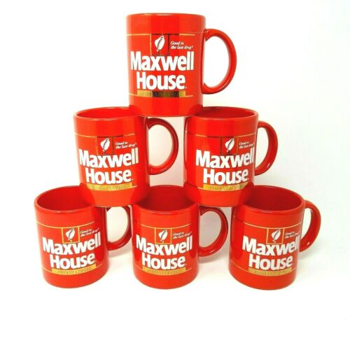6 Vintage Maxwell House Coffee Cups Mugs Red Japan Good to the Last Drop