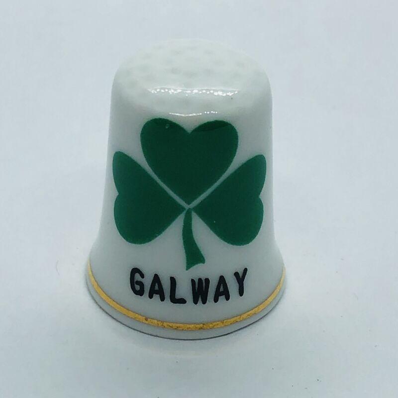 Galway Ireland Souvenir Liffey Artefacts Fine China Thimble w/ Shamrock Clover