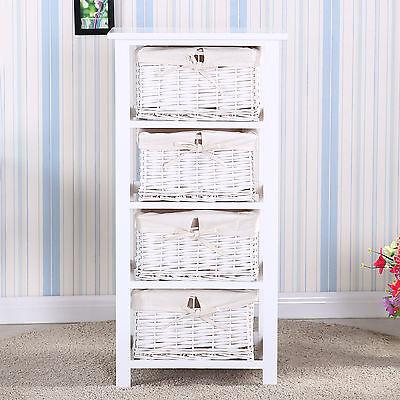 White Wood Side/End Bedside Table Organizer Nightstand w/4 Wicker Basket Storage ()