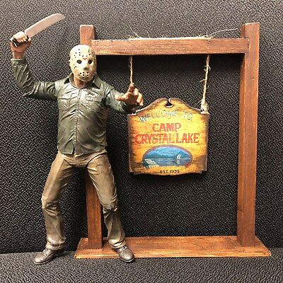 CAMP CRYSTAL LAKE CUSTOM SIGN & STAND FOR NECA STYLE FRIDAY THE 13TH FIGURES!
