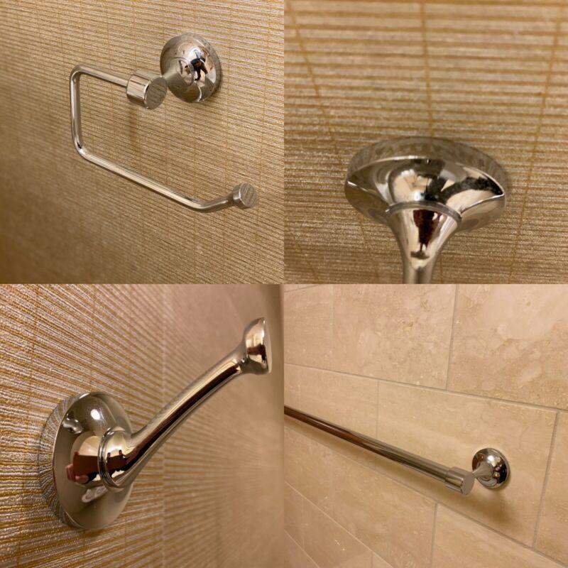 "Waterworks Easton Bathroom Set, Tissue holder, One 24"" Towel Bar & One Robe Hook"