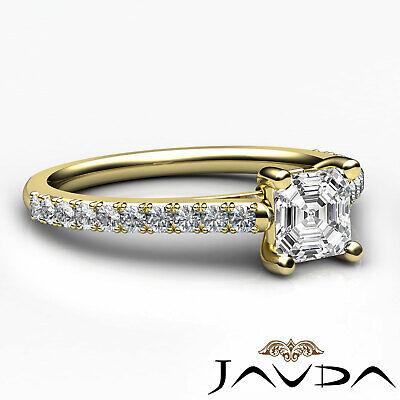 Asscher Diamond Double Prong Set Engagement Ring GIA G VS2 18k White Gold 0.8Ct 9