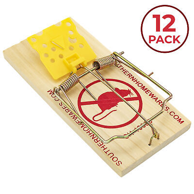 Wooden Snap Rat Trap Easy To Set Classic Traps Cheese Shaped Trigger Twelve Pack Animal & Rodent Control