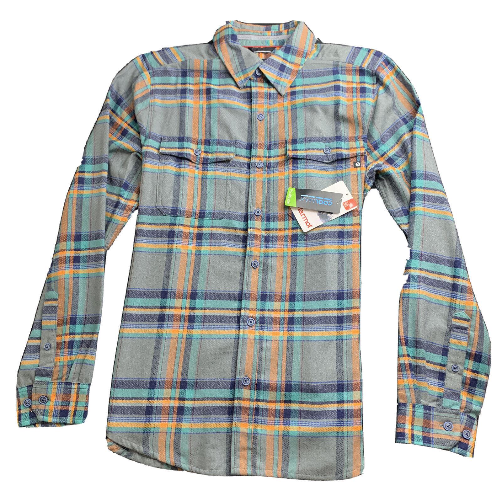 MARMOT Mens Zephyr Cove Mid Wt LS Flannel XL Gray Plaid NWT 85 - $31.44