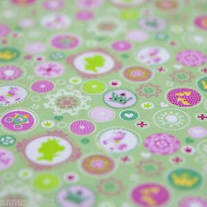 Jersey Stoff Tante Emma Prinzessin Mädchenstoff grün pink weiß Kinderstoff