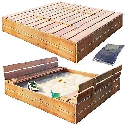 Sandkasten Sandbox mit Deckel SITZBÄNKEN Sandkiste 120x124CM Holz
