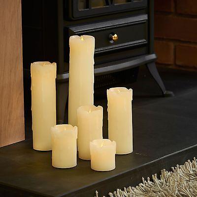 VonHaus Flameless Dripping LED Battery Real Wax Skinny Pillar Candles Set 6