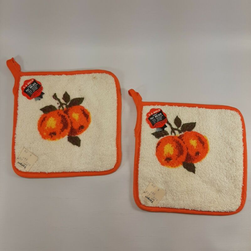 NOS Pair Hot Pads Pot Holders Orange Fruit Terry Cloth