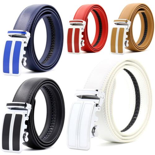 Mens Genuine Leather Automatic Buckle Ratchet Business Golf Dress Belt