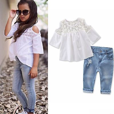 Kids Baby Girls Summer Clothes Outfits T-shirt Tops Dress+Jeans Pants 2PCS Set