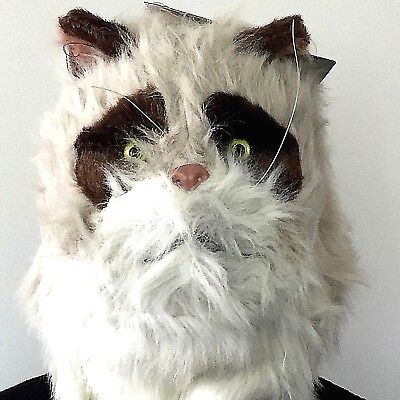 Grumpy Cat Costume Halloween (Cat Mask With Moving Mouth Over the Head Furry Grumpy Cat Adult Costume Cosplay)