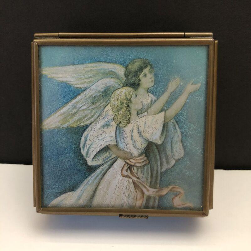 Vintage Enesco 1993 Guardian Angel Keepsake Jewelry Trinket Box Thomas Cathey
