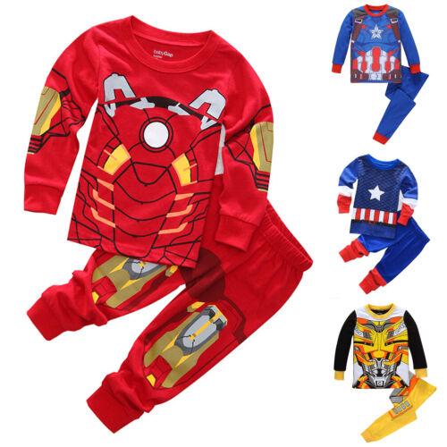 Kid Boys Pajamas Set The Avengers Long Sleeve Tops Pyjamas N