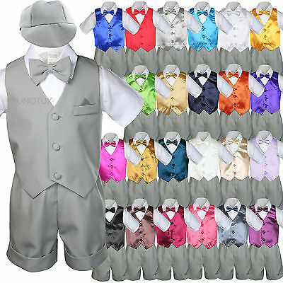 7pc Baby Boy & Toddler Formal Vest Shorts Gray Suit Extra...