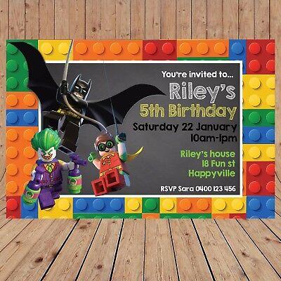 Personalised LEGO BATMAN ROBIN JOKER Kids Birthday Invitations Invites YOU - Batman Lego Invitations