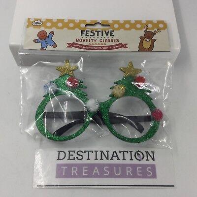 Festive Christmas Novelty Tree Oversize Style Glasses Glitter Pom Poms (Oversized Novelty Glasses)