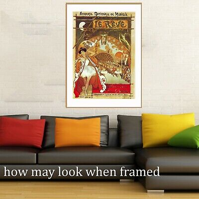 """Vintage art poster le reve french japan musical old painting for glass frame 36"""""""