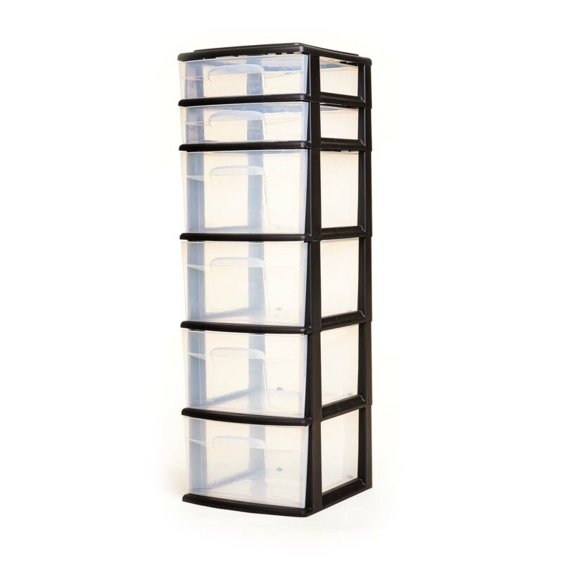 Homz Plastic 6 Clear Drawer Medium Home Storage Container Tower, Black Frame
