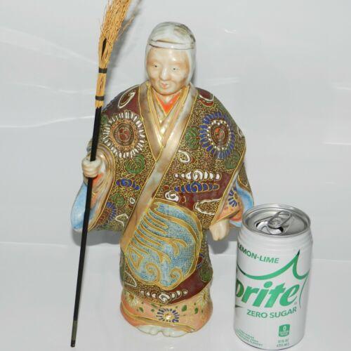 Old Kutani Figurine 11 inch Takasago Wife Old Lady Porcelain Signed embossed