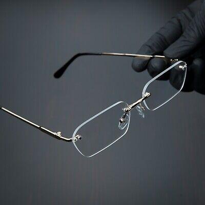 Men's Rimless Retro Clear Lens Gold Luxury Hip Hop Vintage Fashion Glasses