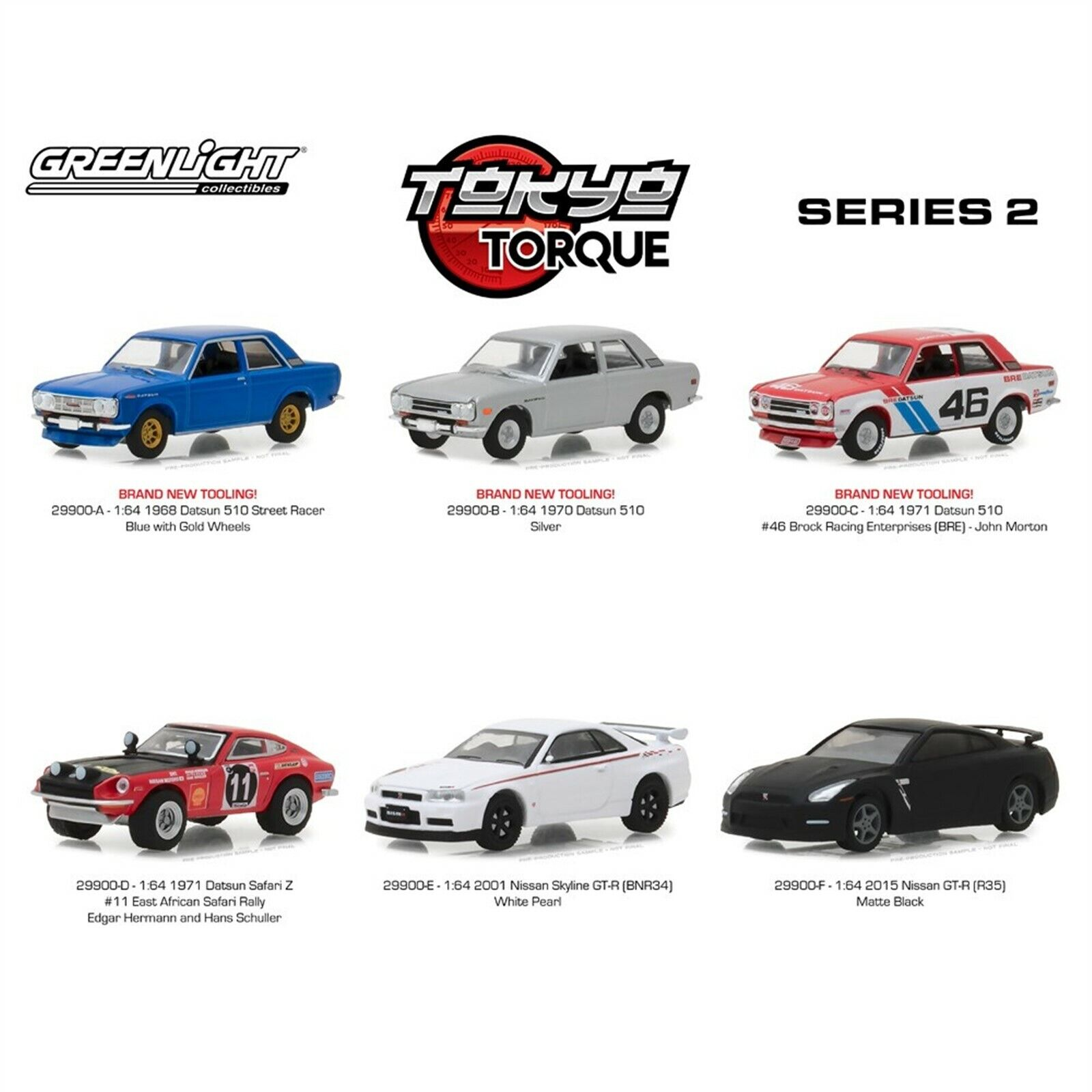 Greenlight 1//64 Tokyo Torque Series 2 2015 Nissan Skyline GT-R R35 BLACK 29900-F
