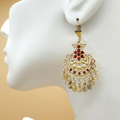 14K Gold Plated Chandelier Earrings.Red Crystals. Aretes Folklorico Oro laminado 14k Gold Chandeliers Earring