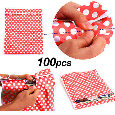 100X Plastic Mailing Postal Bag Self Seal Packing Packaging Postage 10x14 Red UK