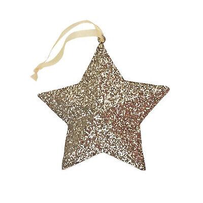Bethany Lowe Gold Glitter Peaceful Star Christmas Tree Ornament Retro Vntg Decor