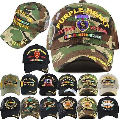 US Military Cap VIETNAM VETERAN Hat Baseball Ball Purple Heart Infantry Army USA