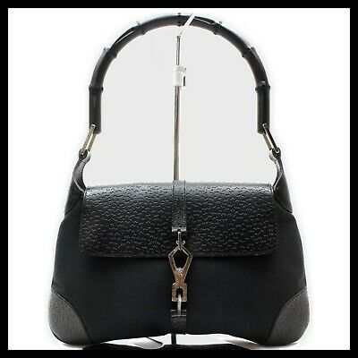 AUTH GUCCI JACKIE O W/BAMBOO SHOULDER ICONIC CANVAS BAMBOO HANDLE HOBO BAG