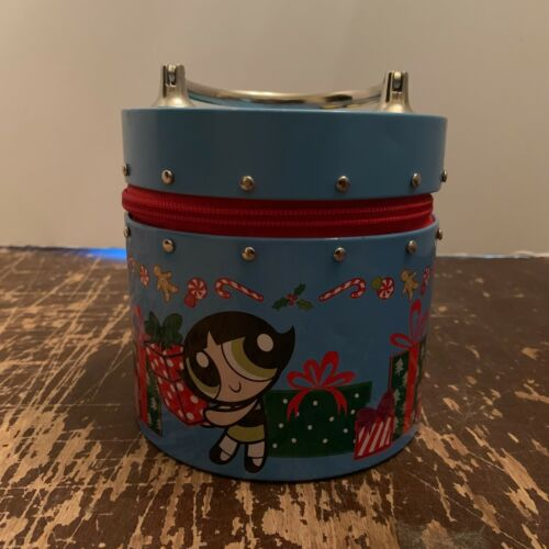 2001 Cartoon Network Powerpuff Girls Metal Round Tin Purse Christmas Theme