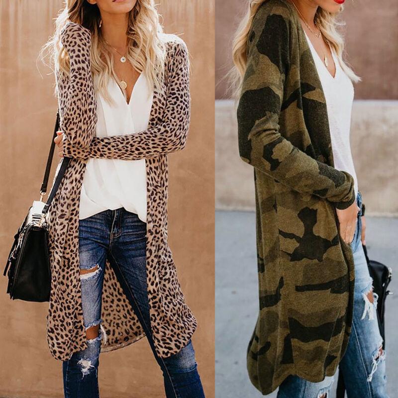 Damen Cardigan Langarm Mantel Herbst Longshirt Leopard Strickjacke Outwear Tops