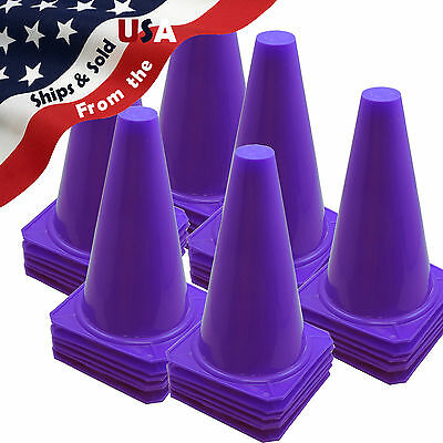 "36 New 9"" Tall PURPLE Cones Soccer Football Baseball Traffic Dog Training Safety"
