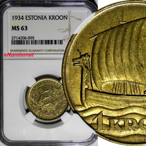 Estonia 1934 1 Kroon NGC MS63 ONE YEAR STRUCK Ship of Vikings KM# 16