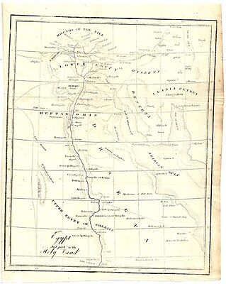 "1851 Bookplate Map of Egypt and Part of the Holy Land 7"" x 9"""