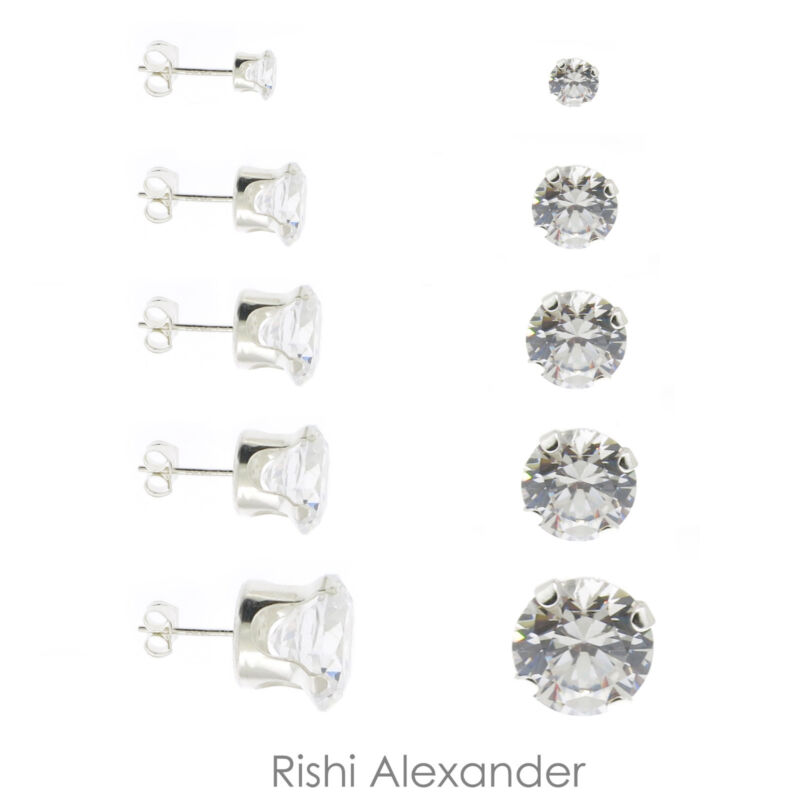 925 Sterling Silver Round Cubic Zirconia Clear CZ Stud Earrings Butterfly Posts