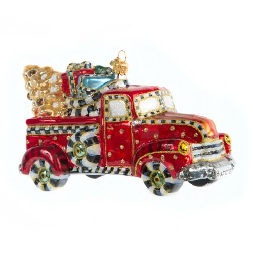 NEW Mackenzie Childs FESTIVE FARM TRUCK Glass Ornament with Gift Box