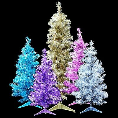 PRE-LIT table-top TINSEL EASTER TREES / SILVER PINK BLUE GREEN / YOUR CHOICE! Blue Green Silver Christmas Trees