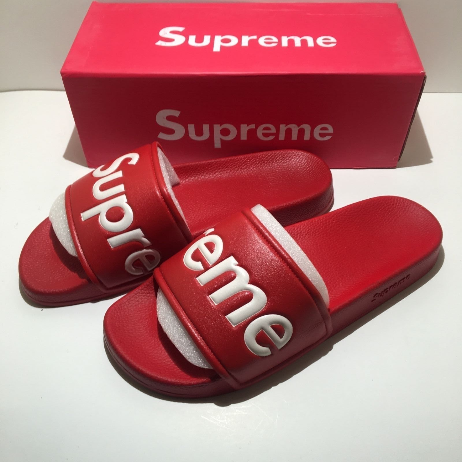 e055d1f5630 SUPREME Quality SLIDES SANDALS SLIPPERS FLIP FLOPS BOX LOGO RED OR BLACK New