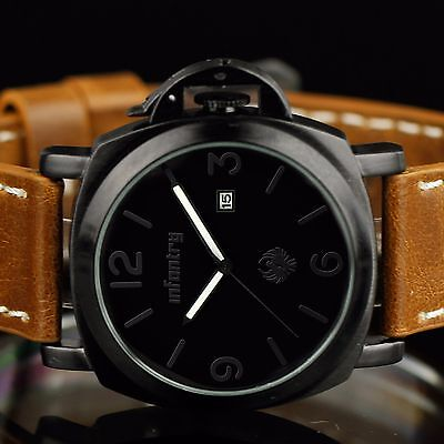 INFANTRY Mens Quartz Wrist Watch Sport Army Analog Date Black Classic Leather