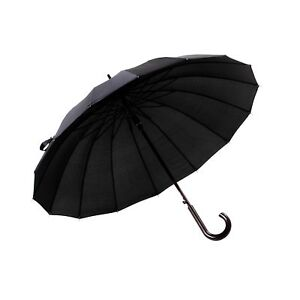 175710a23afd6 Jack Dalston London Classic Black 16 Rib Walking Stick Umbrella