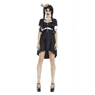 Women's Gothic Punk Wednesday Addams Family Thing Halloween Party Costume Dress](Halloween Party Things)