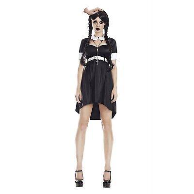 Addams Family Halloween Costumes (Women's Gothic Punk Wednesday Addams Family Thing Halloween Party Costume)