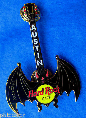 AUSTIN TEXAS VAMPIRE BAT BLACK WINGS HALLOWEEN GUITAR 2002 Hard Rock Cafe PIN