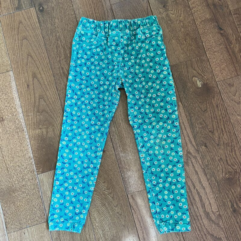 Girls Boden Pull On Corduroy Pants Green Orange Red Floral Sz 5